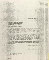 Letter to James Scheuer from Marjorie Mazel