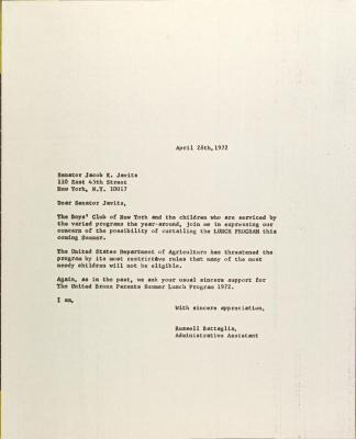 Letter to Jacob Javits from Russell Battaglia