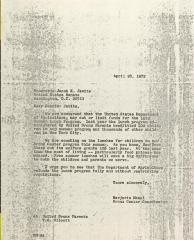 Letter to Jacob Javits from Majorie Mazel