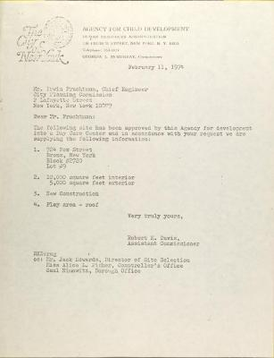 Letter from Robert K. Davis to Irwin Frauchtman