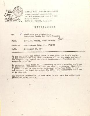 Memorandum from the Agency for Child Development