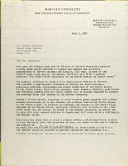 Letter from Harvard Kennedy School