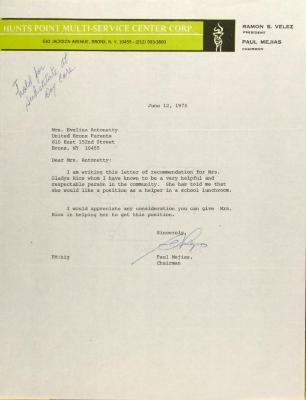 Letter from Paul Mejias