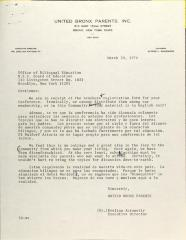 Letter to the Office of Bilingual Education