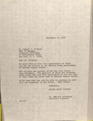 Letter to Robert C. Pilgrim