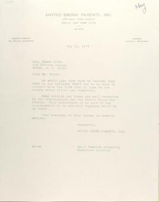 Letter to Ramon Velez