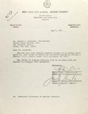 Letter from Peter Lugo and James E. Greenings