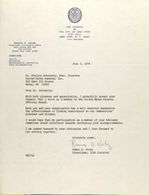 Letter from Ramon Velez
