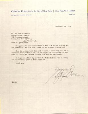 Letter from Major Owens