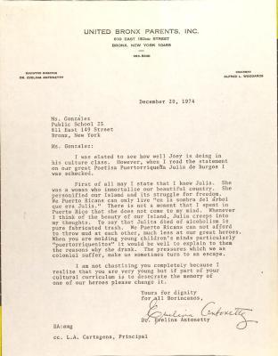 Letter to Mildred González