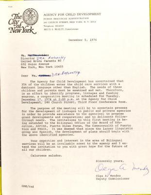 Letter from Olga A. Méndez