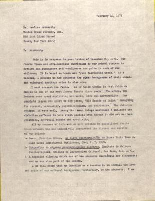 Letter from Mildred Gonzalez