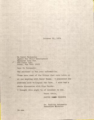 Letter to Carol Fernandez