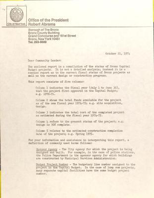 Letter from Robert Abrams