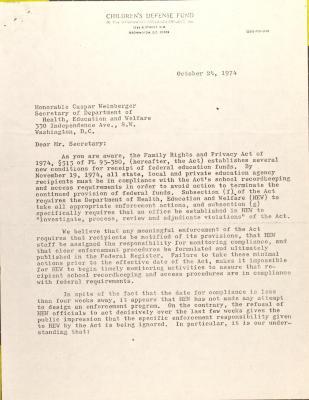 Letter to Caspar Weinberger from the Children's Defense Fund