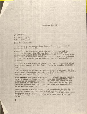 Letter to Mildred Gonzalez from Lillian López