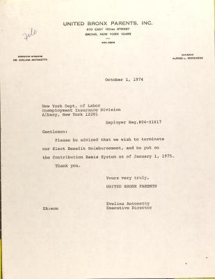 Letter to the New York Department of Labor