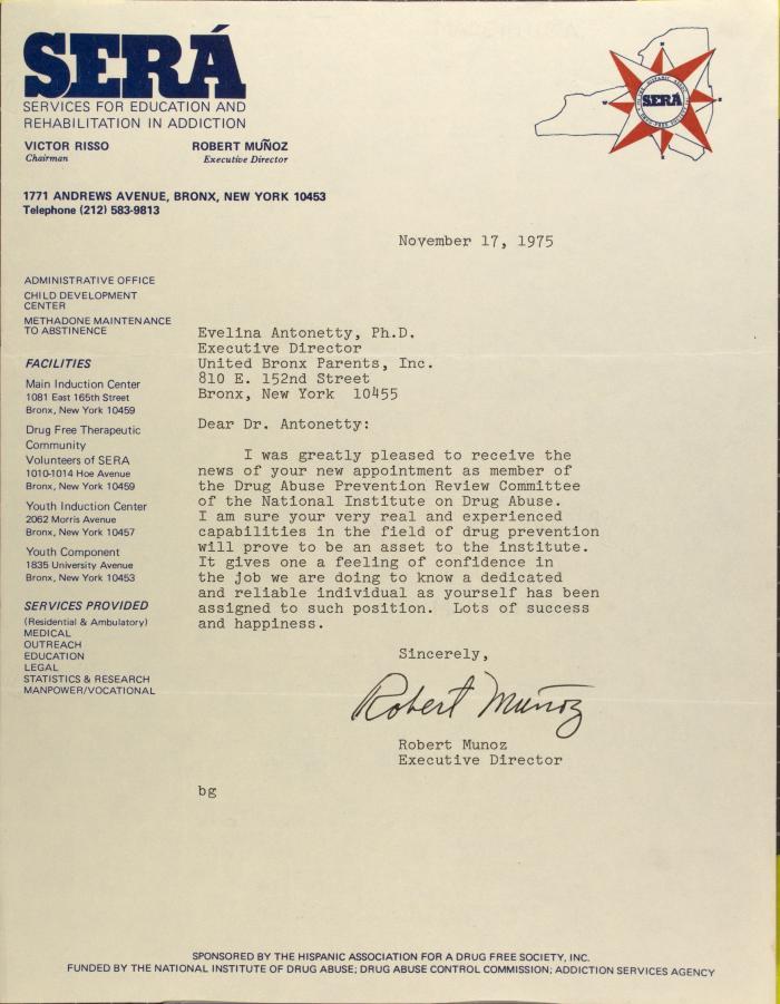 Letter from Robert Muñoz