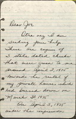 Letter to Joseph R. Eraso