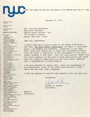 Letter from Arthur H. Barnes