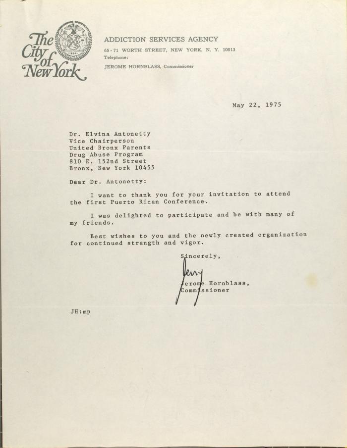 Letter from Jerome Hornblass