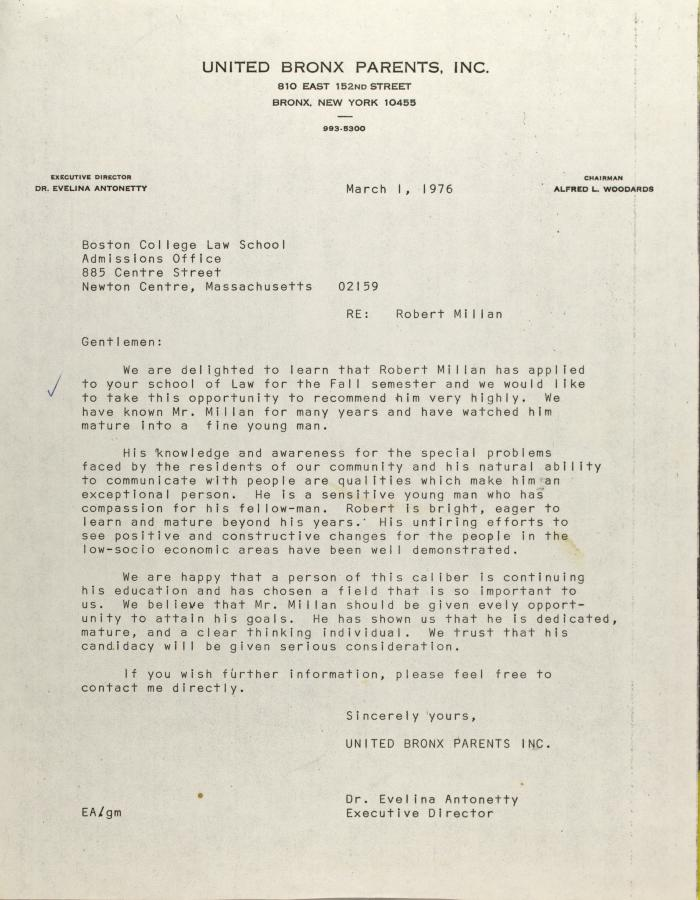 Letter to the Boston College Law School