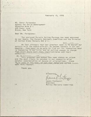 Letter to Carol Fernandez from Lara Fantauzzi
