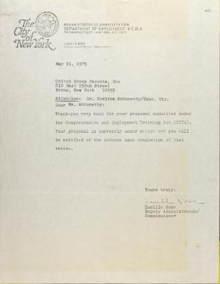 Letter from Lucille Rose
