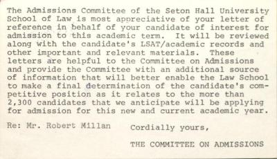 Letter from Seton Hall School of Law