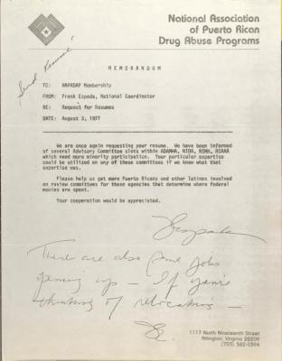 Memorandum from Frank Espada