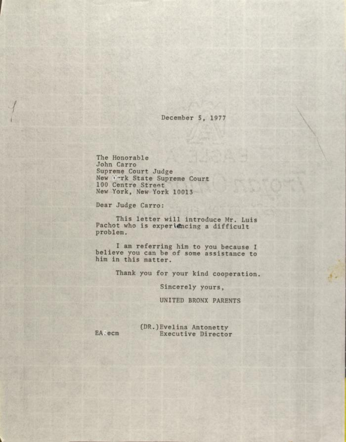 Letter to John Carro
