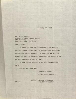 Letter to Diana Wilson