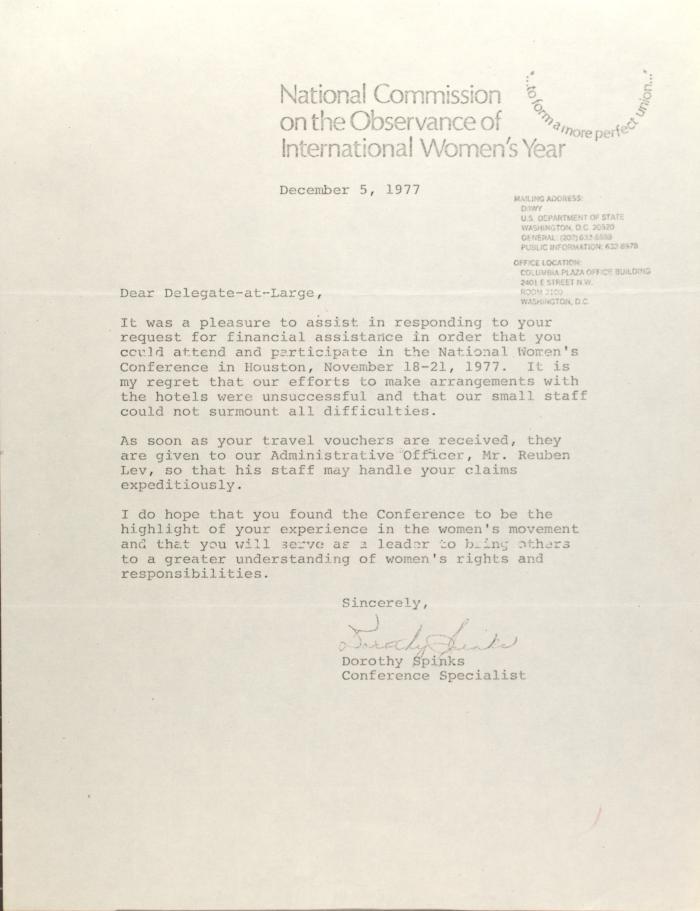 Letter from Dorothy Spinks