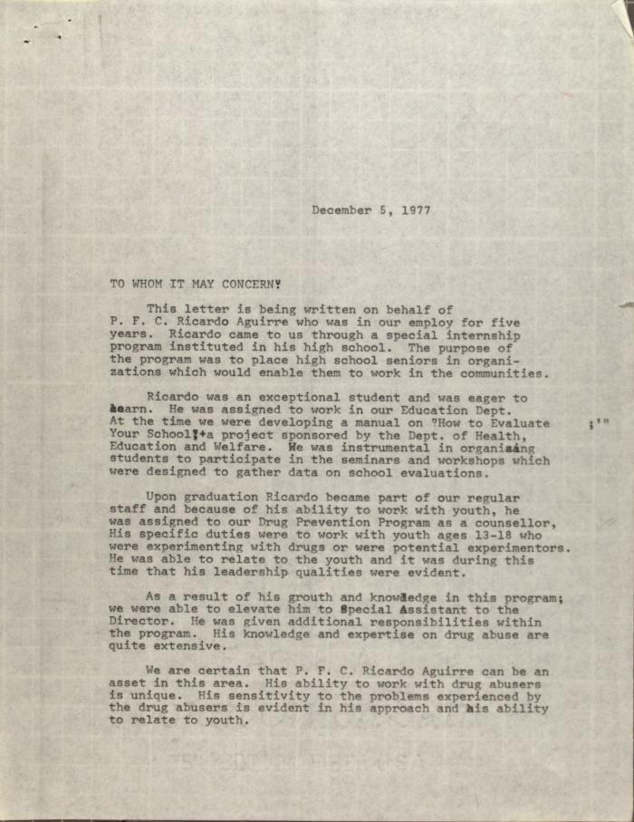 Letter from Evelina Antonetty