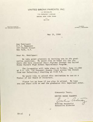 Letter to Ana Henriquez