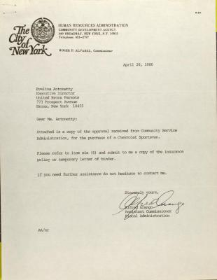 Letter from Alfred Arango