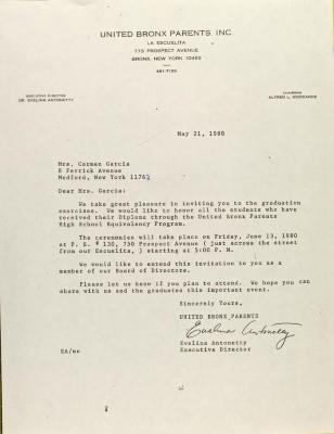 Letter to Carmen Garcia