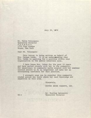 Letter to Felix Velazquez