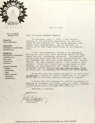 Letter from Felix Velazquez