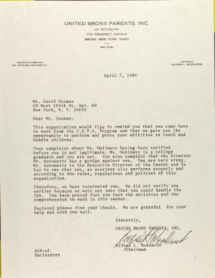 Letter to David Guzman