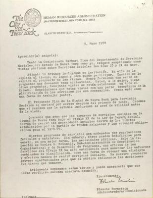 Letter from Blanch Bernstein