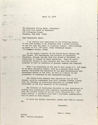 Letter to Irving Anker from Mary L. Reiss.