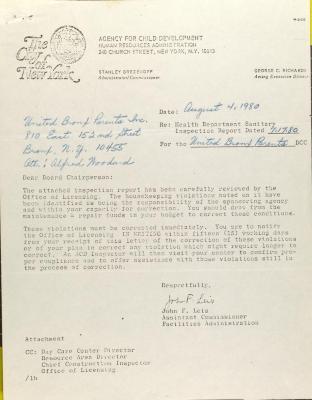 Letter from John F. Leis