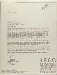 Letter from Joseph L. Galiber