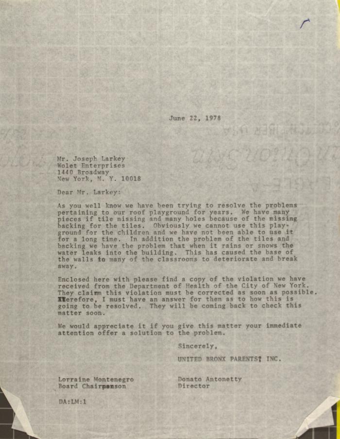 Letter to Joseph Larkey