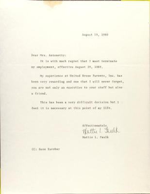 Letter from Mattie L. Faulk