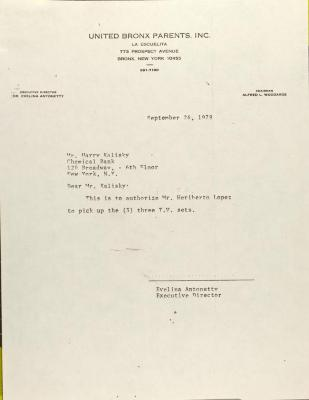 Letter to Harry Kalisky
