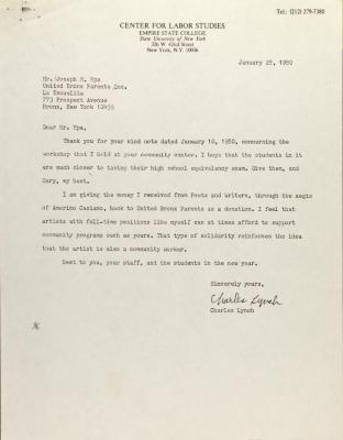 Letter from Charles Lynch