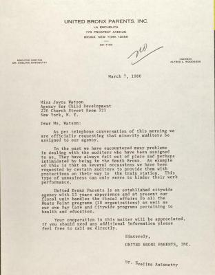 Letter to Joyce Watson