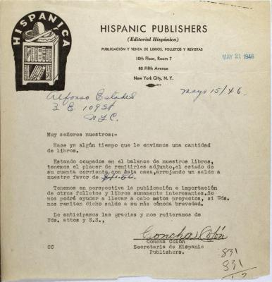 Correspondence from Concha Colón of Hispanic Publishers